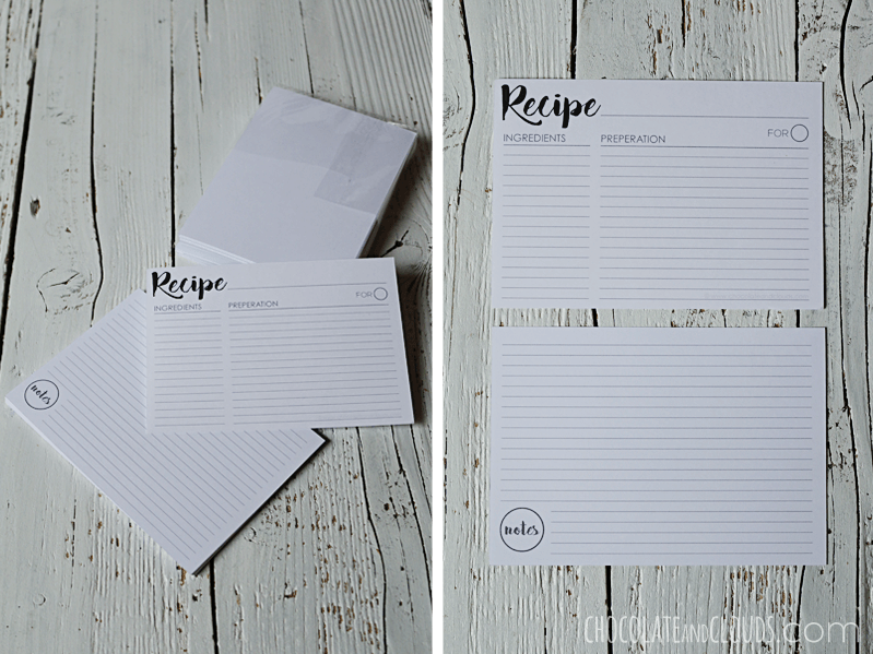recipe cards box printable