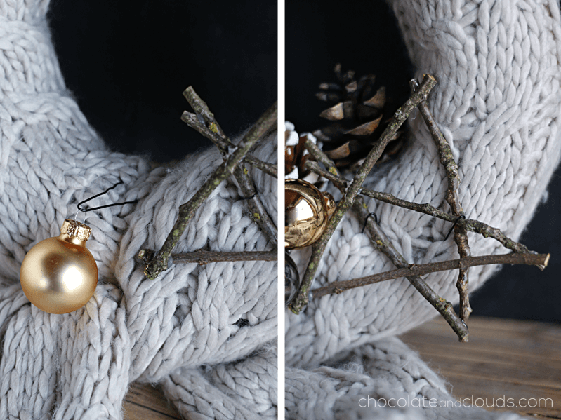 knitted scarf wreath diy