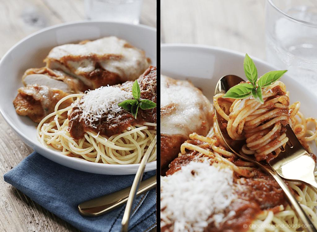 baked chicken parmesan mit pasta und Tomatensauce rezept