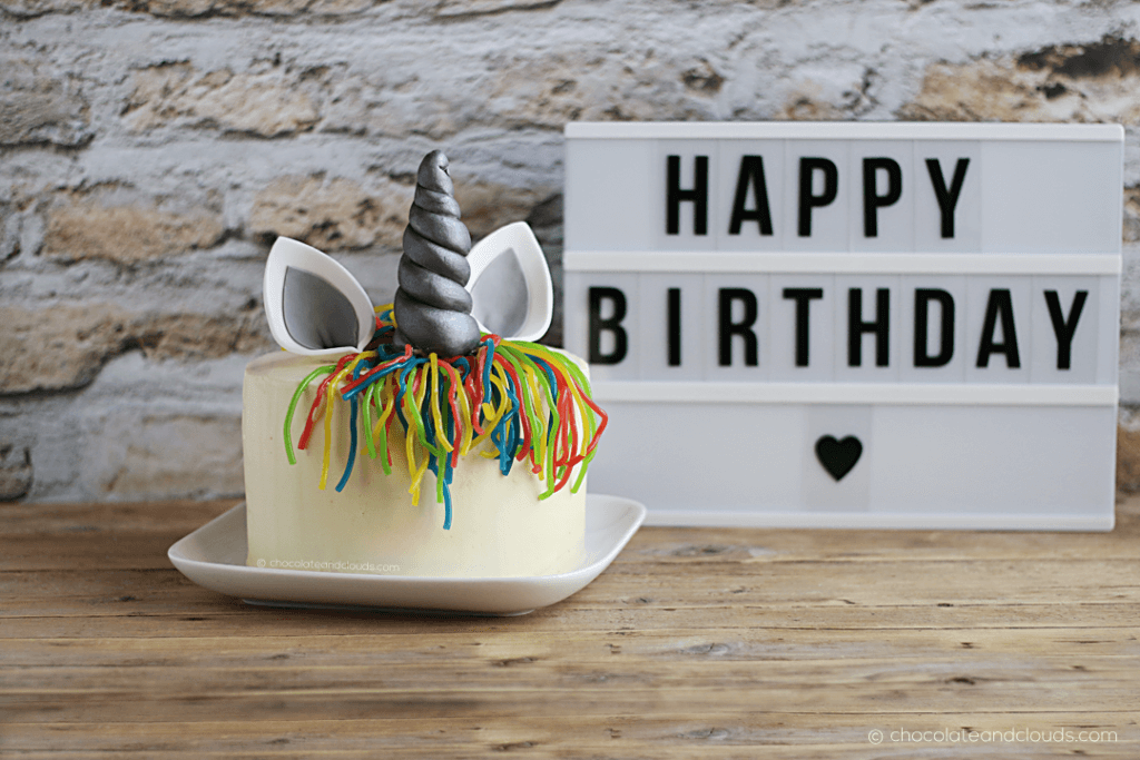 einhorn torte rezept mit weißer ganache und confetti kuchen