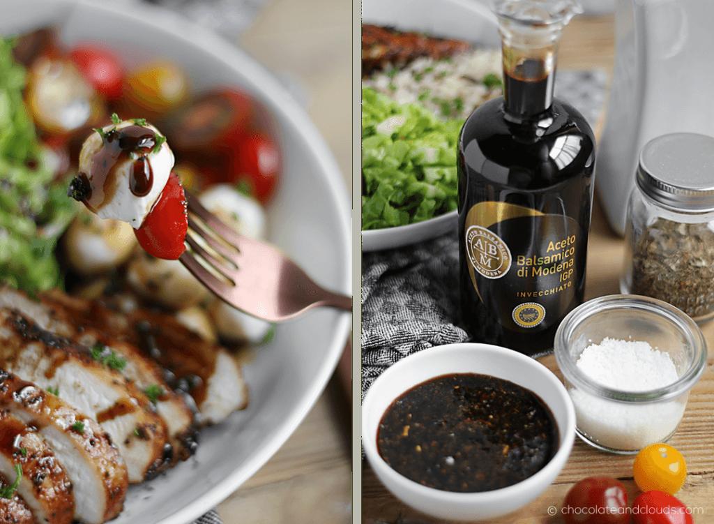 Caprese Salad Bowl Rezept mit Balsamico Hähnchen Reis Tomate Römersalat Mozzarella