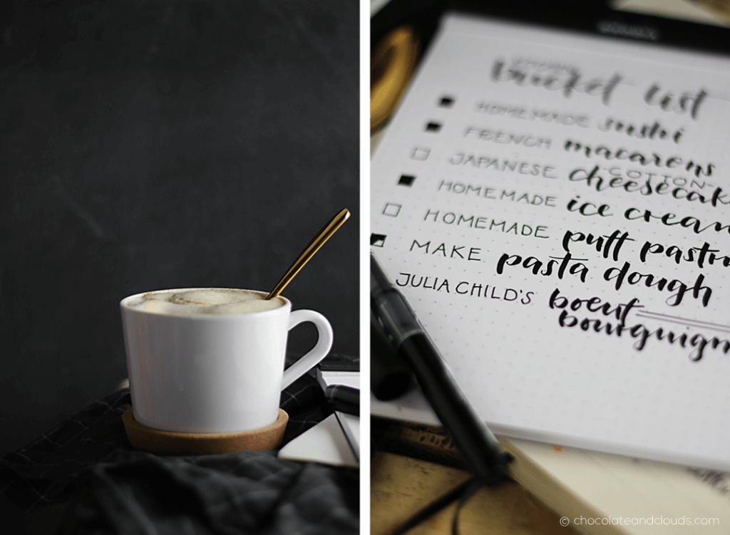 kitchen bucket list and coffee