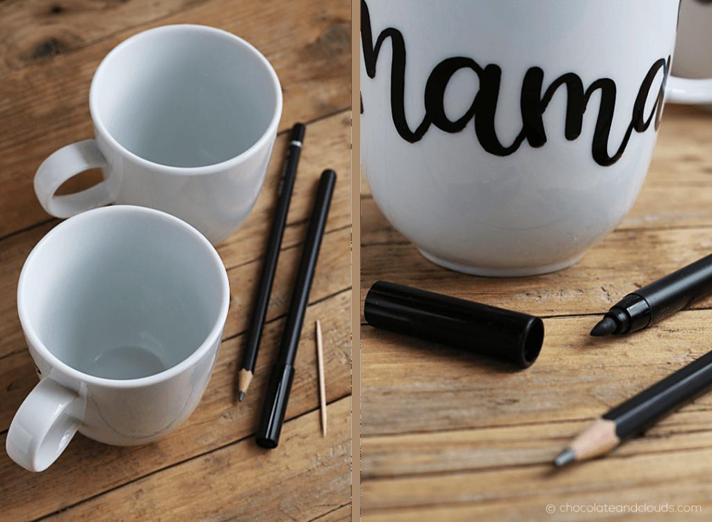 diy brush lettering tasse