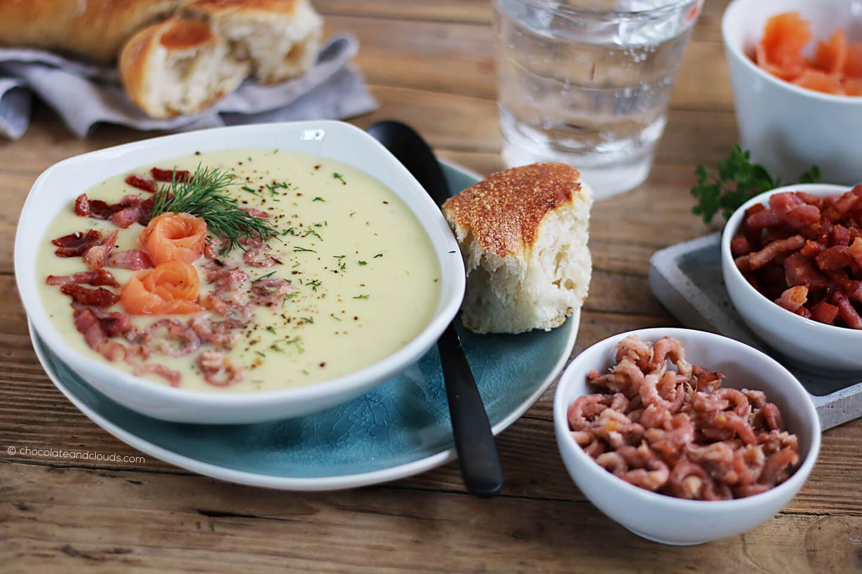 schwedische kartoffelsuppe mit krabben, lachs und bacon rezept