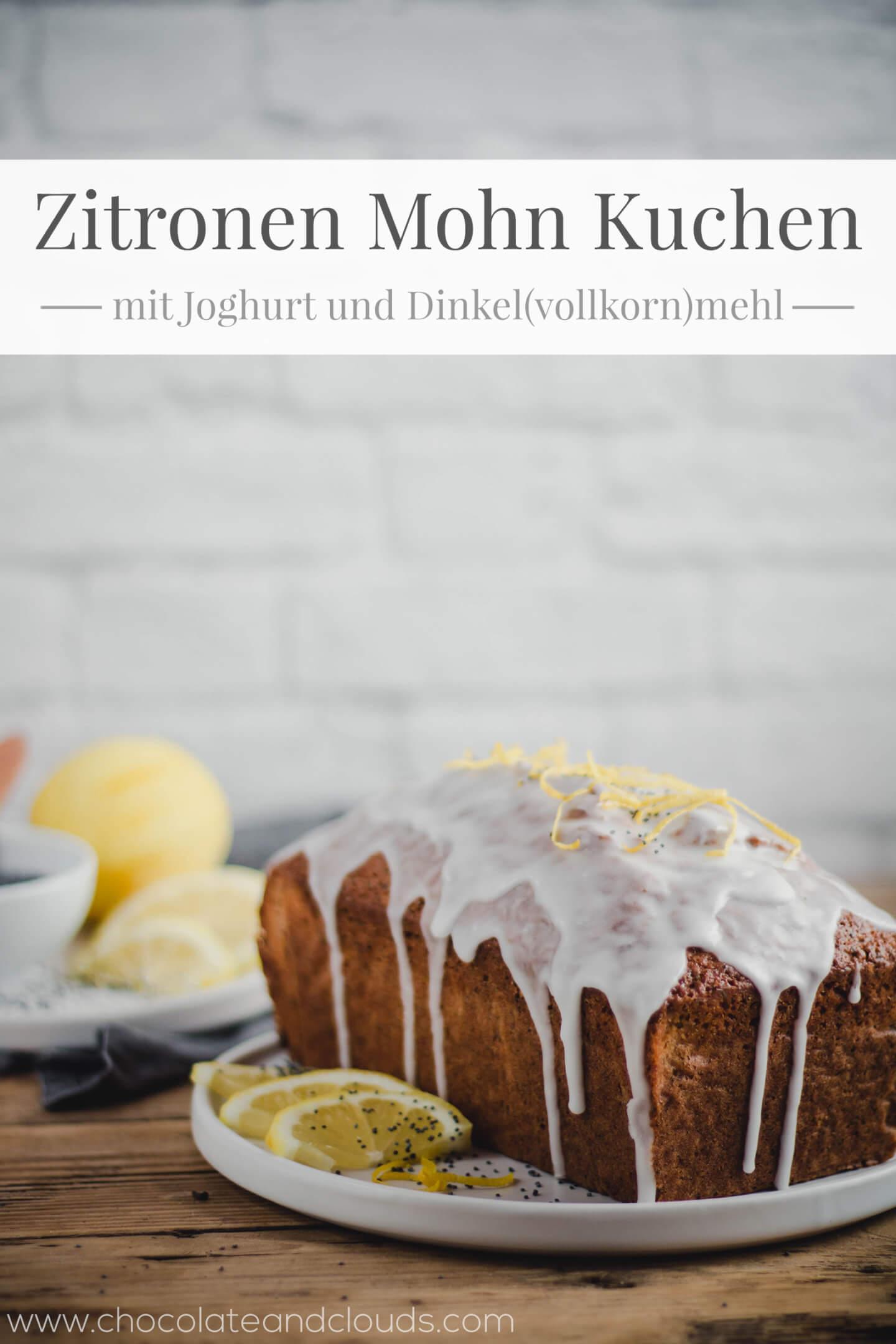 zitronen mohn kuchen mit joghurt, dinkelmehl und zitronenglasur