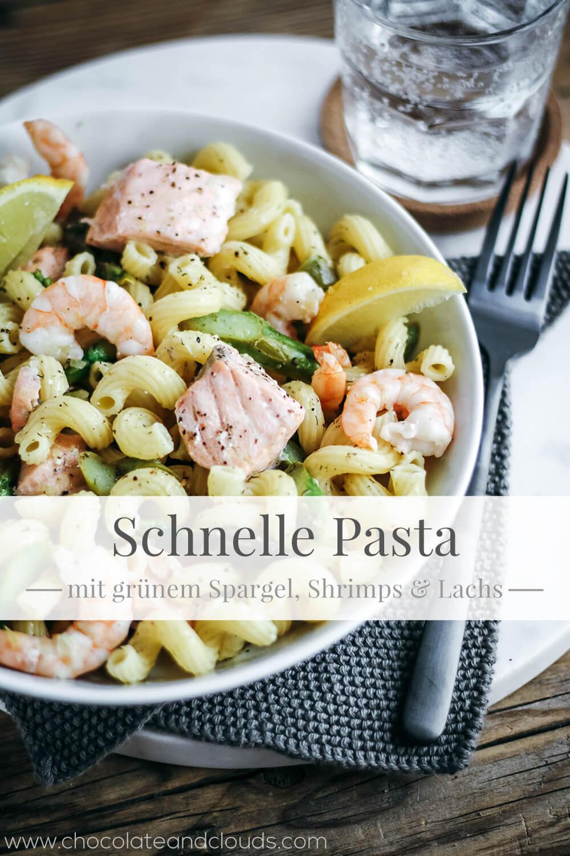 rezept schnelle pasta mit grünem spargel shrimps lachs